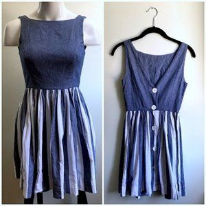 American Apparel Striped Heather Pleated Dress XS